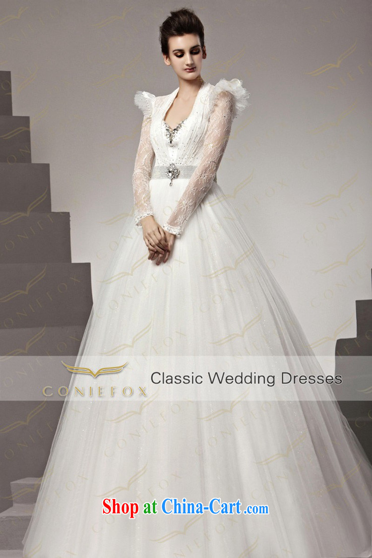 Creative Fox Wedding Dresses Tailored Elegant White Lace Long Sleeved Only Marriages