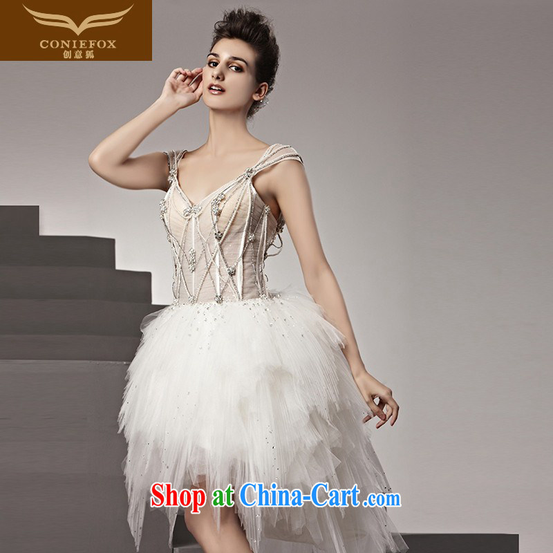 Creative Fox tailored wedding short skirt new stylish light drilling small wedding sweet short shaggy wedding small short skirts sexy dress wedding 90,188 white tailored