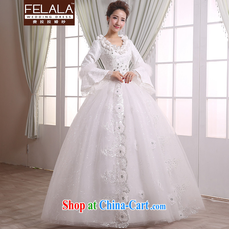 Ferrara 2015 new bride winter thick warm lace-flower water drilling wedding XL (2 feet 2)