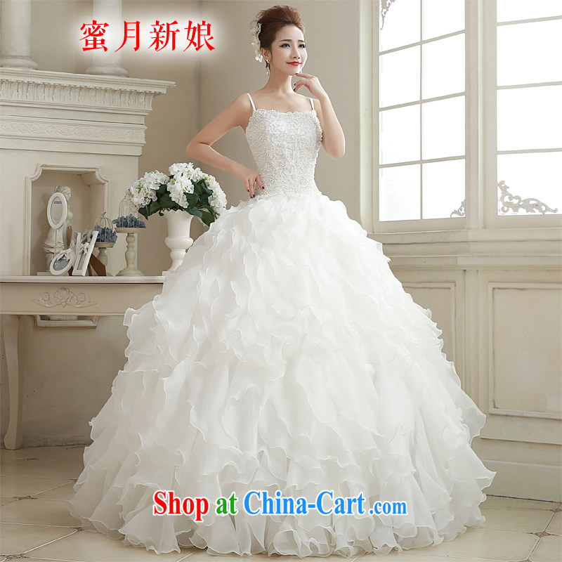 Honeymoon bridal 2015 winter New Products wedding Korean shoulders wedding Pearl shaggy dress Princess wedding white XL
