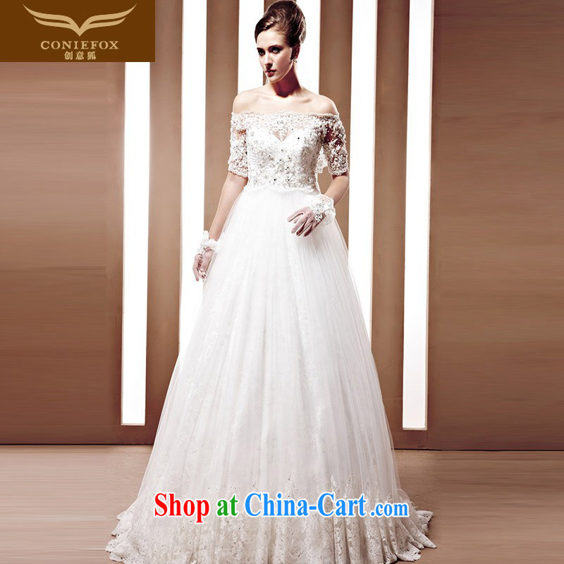 Creative Fox high-end custom wedding dresses Chinese brides wedding cuff in a field shoulder dress rate, China, WTO water drilling new white wedding 90,065 white tailored