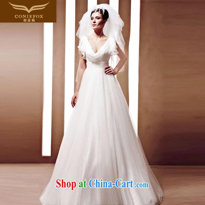Creative Fox wedding dresses tailored sense of deep V collar graphics thin wedding dresses with bridal dress White Dress wedding 90,080 white tailored
