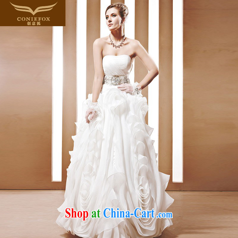 Creative Fox high-end custom wedding dresses Korean Noble and elegant white wedding Palace Royal bride wedding wedding dress 90,010 white tailored
