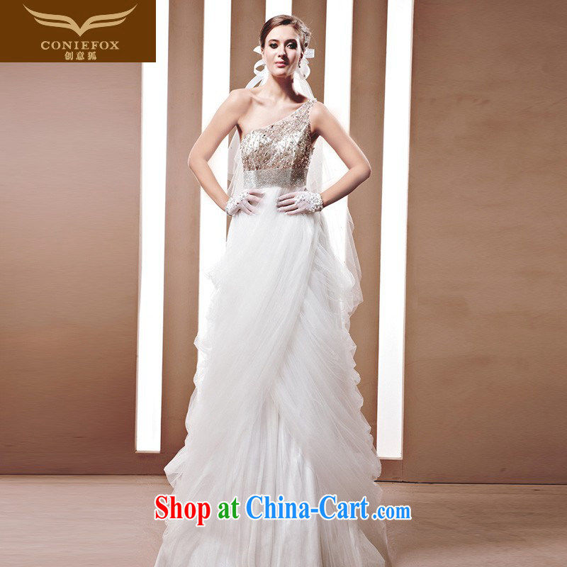 Creative Fox wedding a tailored stylish single shoulder bridal wedding classic with bridal wedding Korean video thin wedding 90,009 white tailored