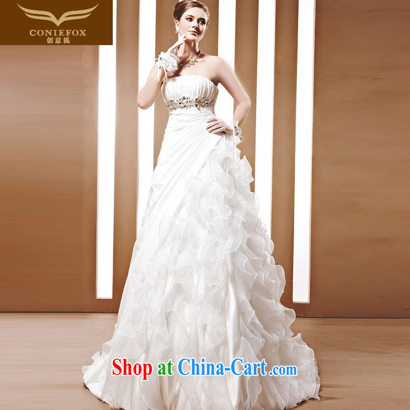 Creative Fox a tailored bridal wedding dresses white bare chest marriage wedding Princess shaggy dress luxurious wedding dresses 90,055 white tailored