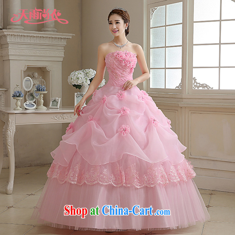 Rain is still clothing bridal wedding dress 2015 new Korean sweet Princess pink towel chest parquet drill elegant flowers graphics thin large code wedding HS 885 pink tailored final