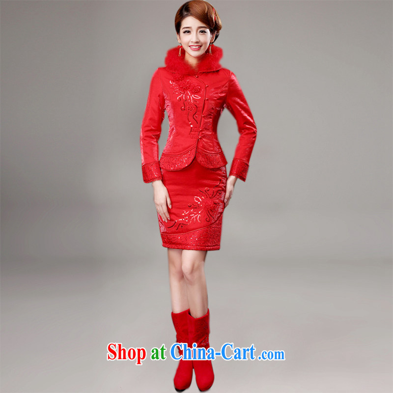 wedding dresses new 2014 winter red bridal toast clothing wedding dress wedding dresses long-sleeved winter short, customer size will not be returned.
