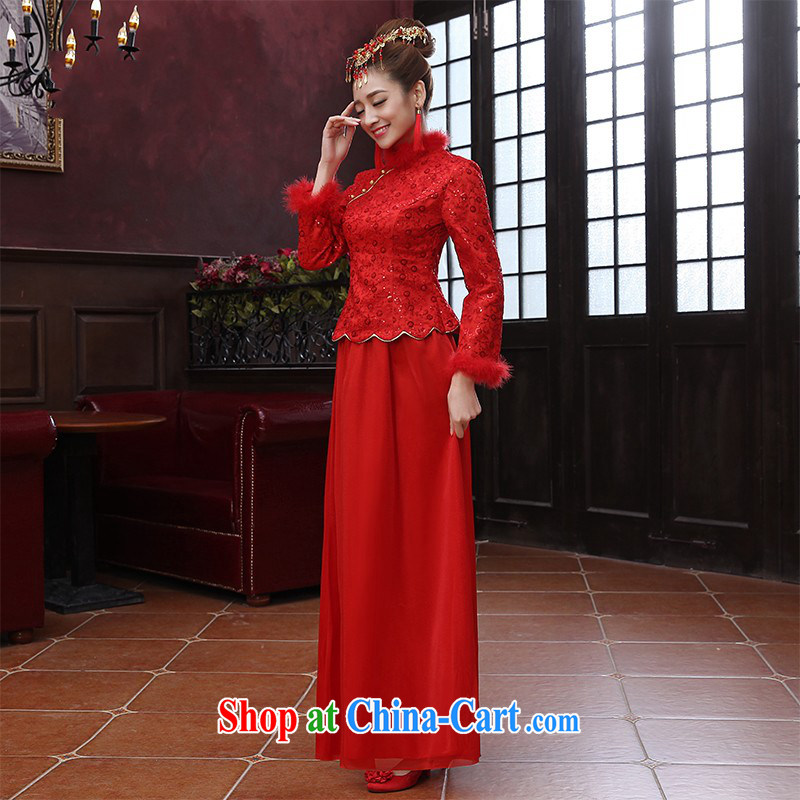 The red Chinese Winter and cotton plus Gross warm necks wedding dresses long bridal toast serving women dresses dress Customer to size up to be returned.