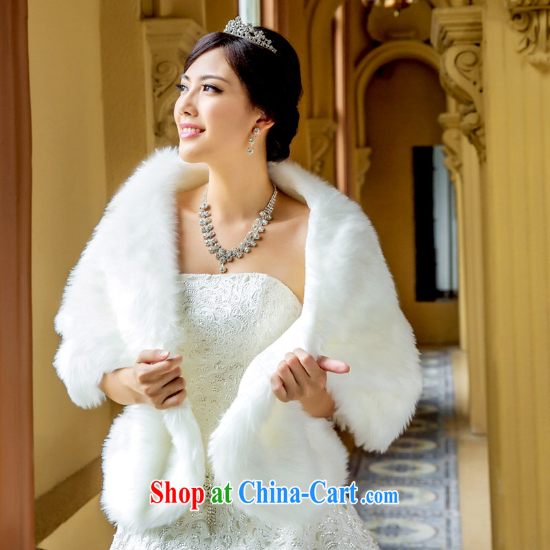 The Bridal Shawls Wedding Dresses Winter Hair Shawl 016 White Single