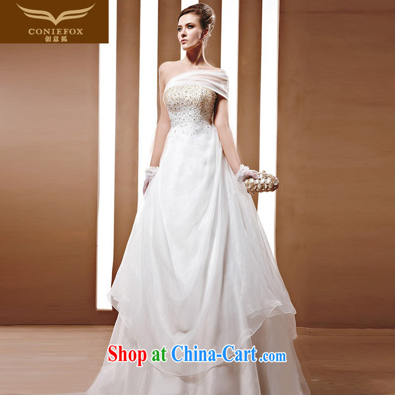 Creative Fox wedding is tailor-made to do upscale luxury parquet drill wedding dresses bridal wedding Korean wedding dresses a shoulder back exposed wedding 90,032 white tailored
