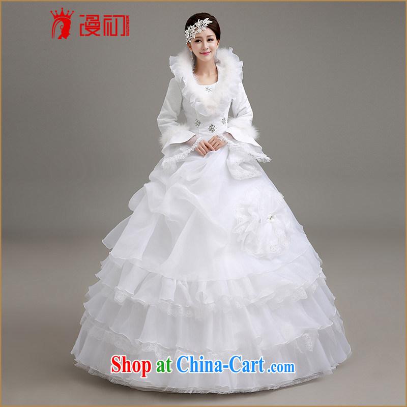 Early definition wedding dresses new 2015 winter Korean wedding winter long-sleeved wool collar thick winter, wedding white winter with wedding dresses white XXL code
