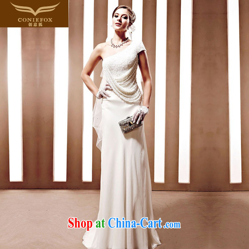 Creative Fox wedding tailored sense of the shoulder graphics thin wedding white bridal wedding dresses wedding dress long with wedding 90,081 white tailored