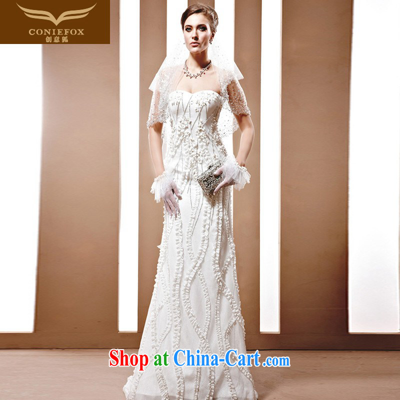 Creative Fox Evening Dress wedding tailored noble Korean version with bridal wedding toward the water drilling wedding white wedding wedding 90,023 white tailored