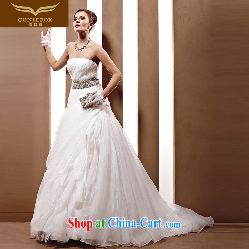Creative Fox high-end wedding dresses custom, Japan, and South Korea imported fabrics staples high Pearl wedding 2015 new marriages white wedding 90,038 white tailored