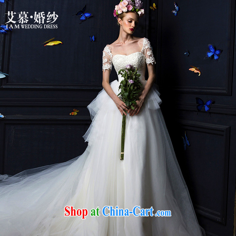With the 2015 spring new winter Butterfly Dream erase chest lace long-sleeved shaggy dress long-tail bridal wedding dresses wedding winter white tail, L
