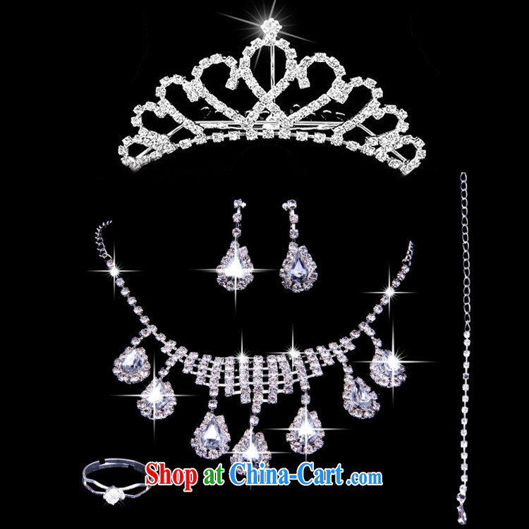 2015 new bridal jewelry Korean-style wedding accessories crown-decorated Wedding water diamond necklace earrings rings bracelets 5 piece set with white are code pictures, price, brand platters! Elections are good character, the national distribution, so why buy now enjoy more preferential! Health
