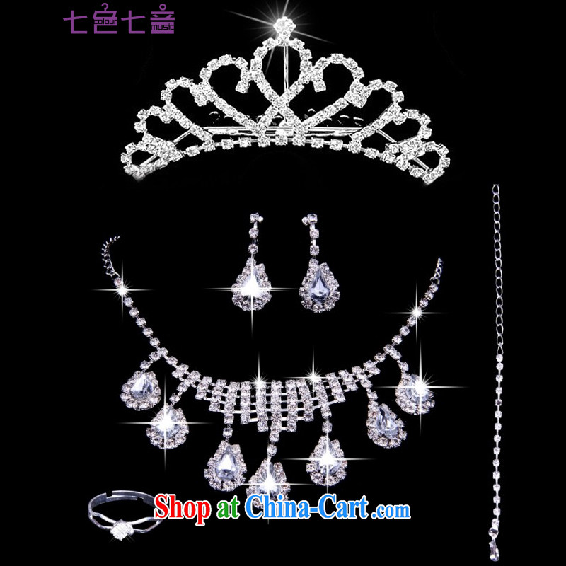 2015 new bridal jewelry Korean-style wedding accessories crown-decorated Wedding water diamond necklace earrings rings bracelets 5 piece set with white are code