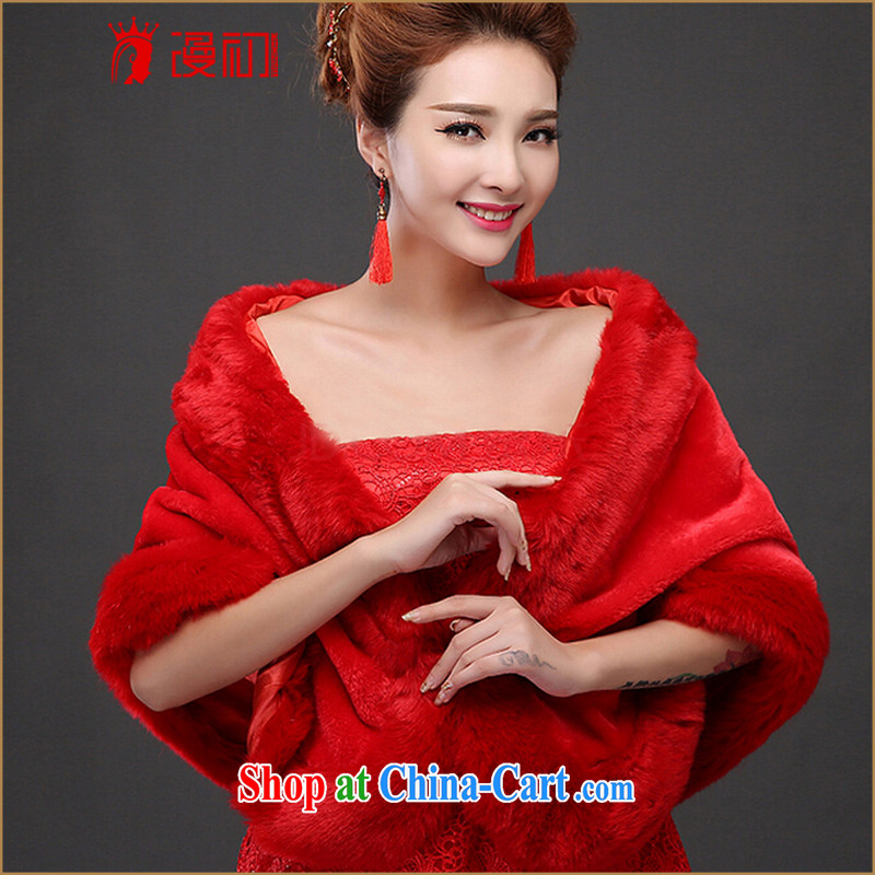 Early spread new autumn and winter bridal toast welcoming married gross margin increased wedding dress wedding warm outfit hair shawl red