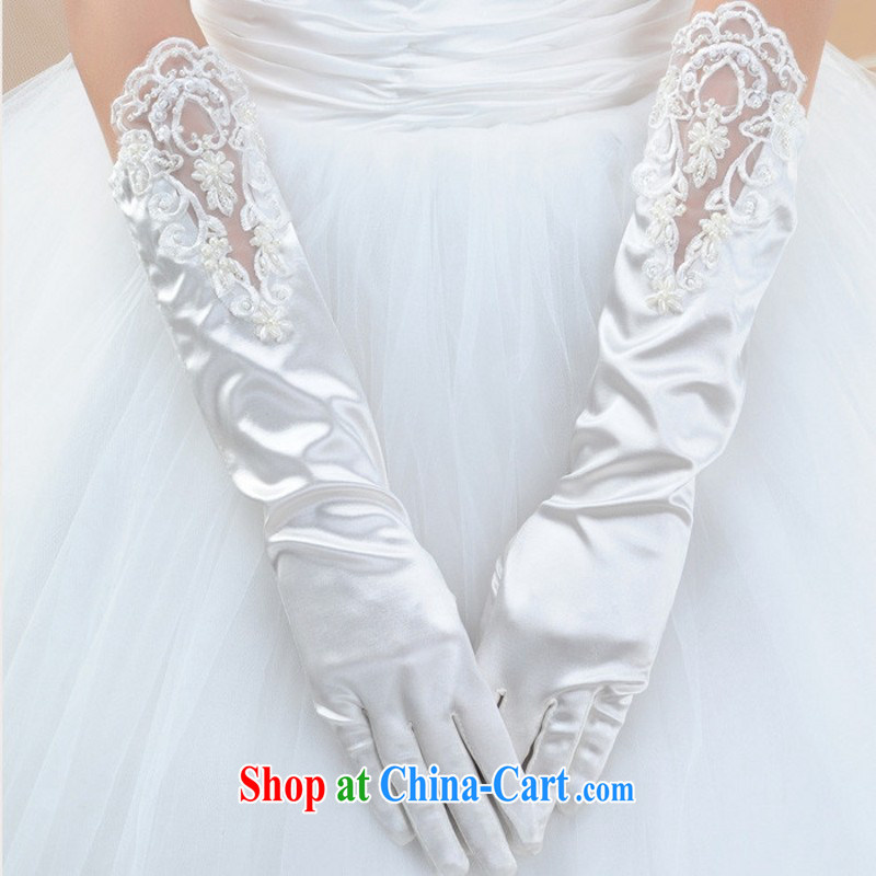 Bridal gloves white gloves satin gloves bridal the pearl gloves bridal wedding dresses accessories, love so Peng, and shopping on the Internet