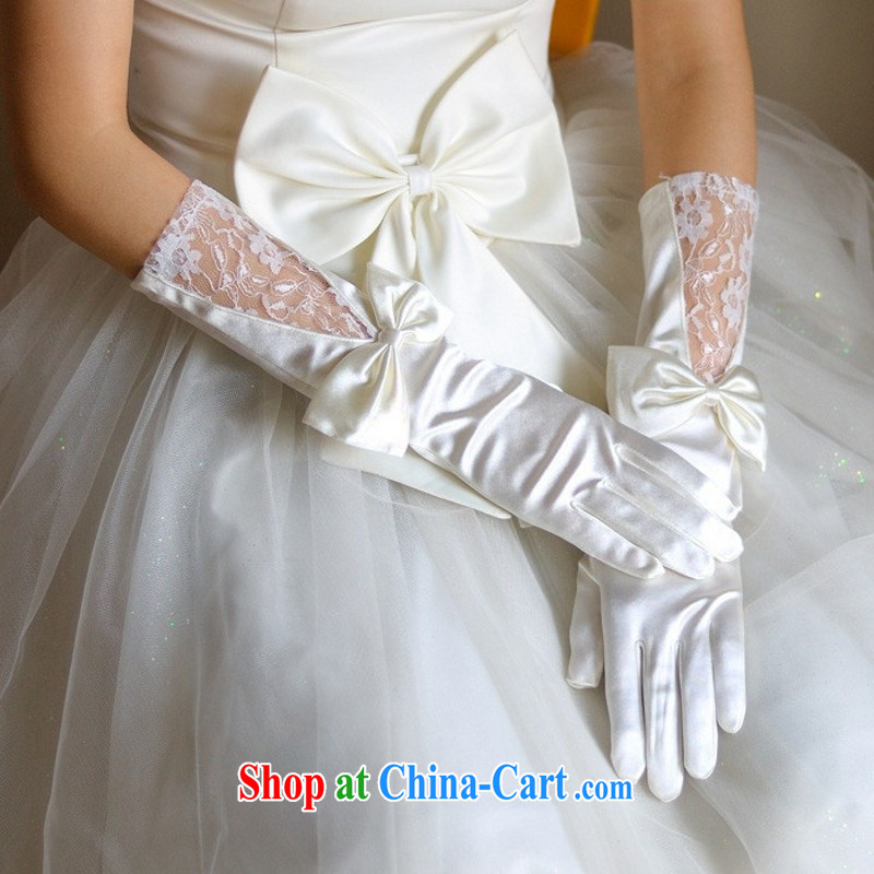 Bow Tie lace Satin bridal gloves wedding accessories ST 13 red