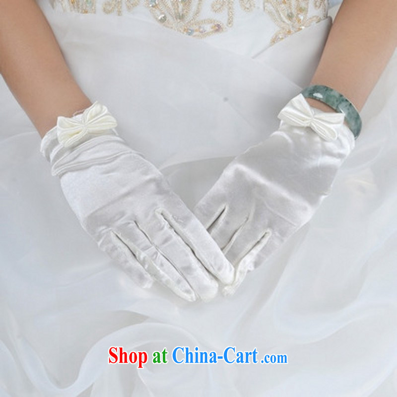 Bridal gloves female Korean winter wedding dress wedding gloves bowtie short white gloves white