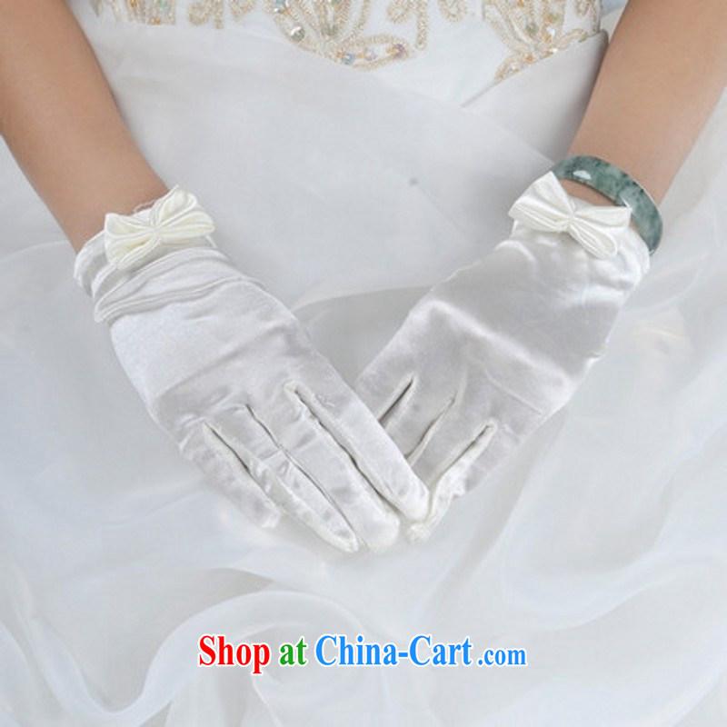 Bridal gloves female Korean winter wedding dress wedding gloves bowtie short white gloves white
