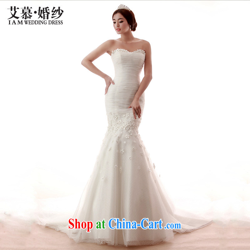 With the 2015 spring new wedding Daisy wiped his chest large tail flowers white custom bridal photography wedding dresses white tailored