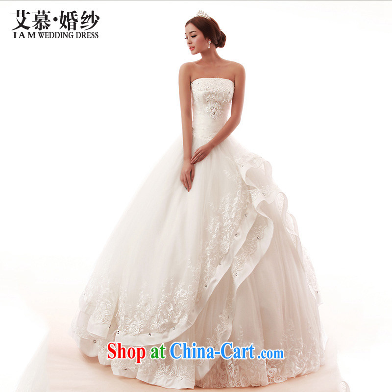 In the spring 2015 new wedding dresses Butterfly Dance wiped his chest and lace Princess drill Korean shaggy dress bridal wedding white XL