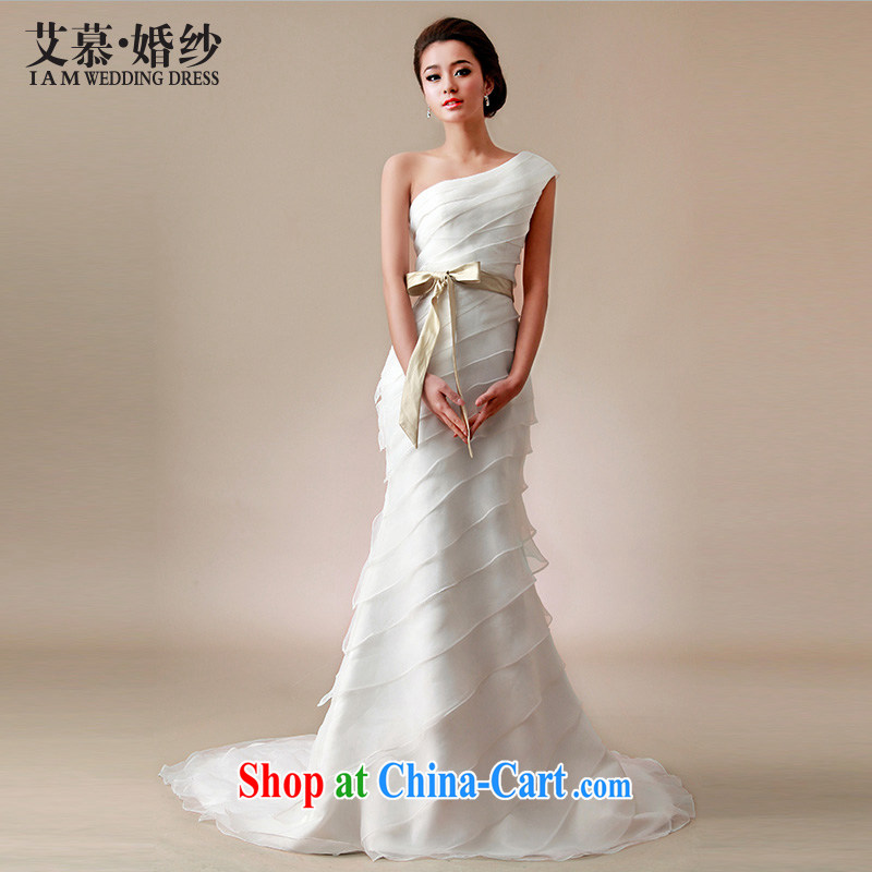 With the 2015 spring new wedding butterfly shadow the shoulder-tail small crowsfoot graphics thin bridal wedding dresses white L