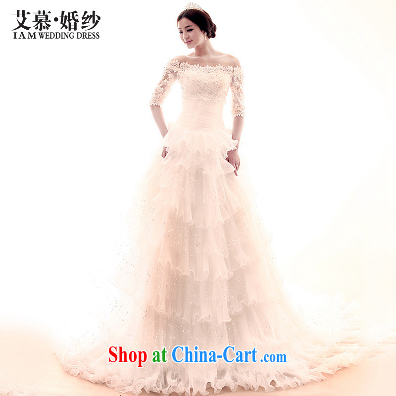 With the 2015 New City long-tail Korean Princess crowsfoot field shoulder drill married Yi long-sleeved wedding dress white XS