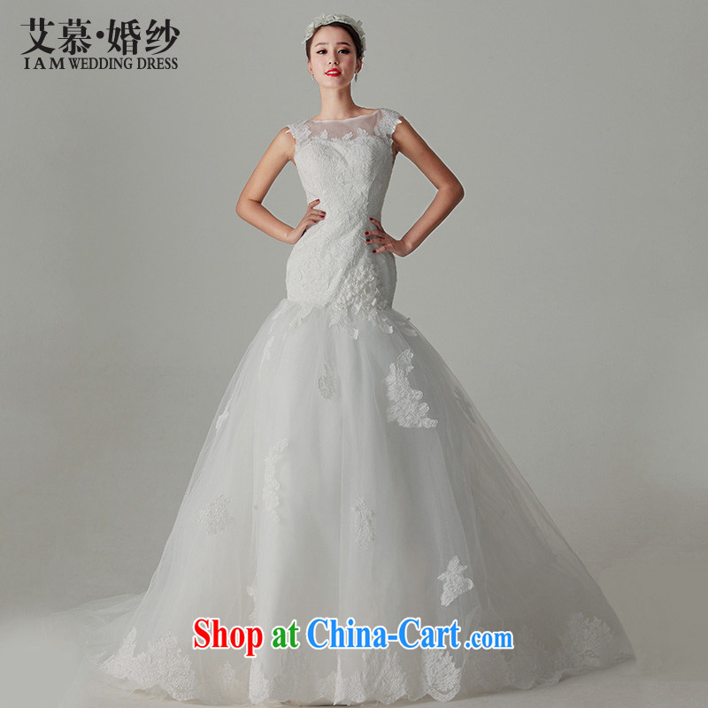 With the 2015 spring new spent fuser elegant lace back exposed crowsfoot a shoulder Princess Korean tail wedding dresses white L