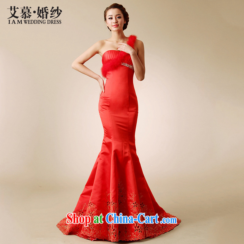 With the 2015 spring new Jane the shoulder and ostrich feathers Satin lace small crowsfoot wedding dresses trailing Red White Red L