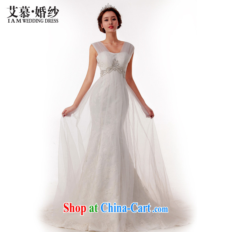 With the 2015 spring new wedding, God's Word shoulder lace luxurious and elegant high-waist the waist crowsfoot graphics thin wedding white L