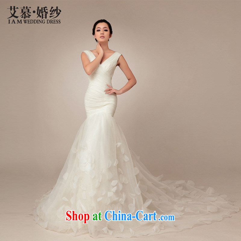 With the 2015 spring new blooms Korean version with a shoulder the crowsfoot the trailing white retro graphics thin wedding dresses Ms. WHITE L