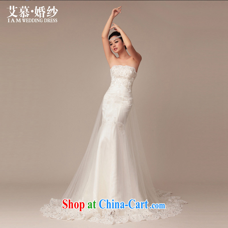 With the 2015 spring new prettier tied with satin lace long-tail stylish wood drill retro Korean wedding white L