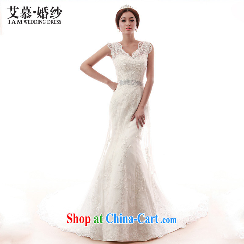 With the 2015 spring new wedding star sunny minimalist Satin crowsfoot tail erase chest bridal wedding dresses white XL