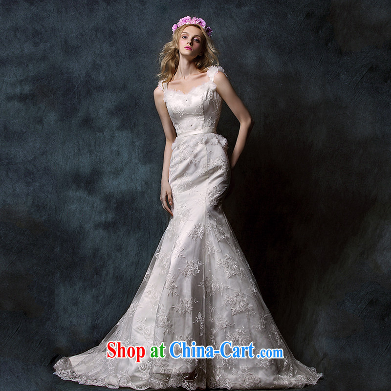 With the 2015 spring new Miu under lace bare chest straps crowsfoot tail bridal wedding dresses white L