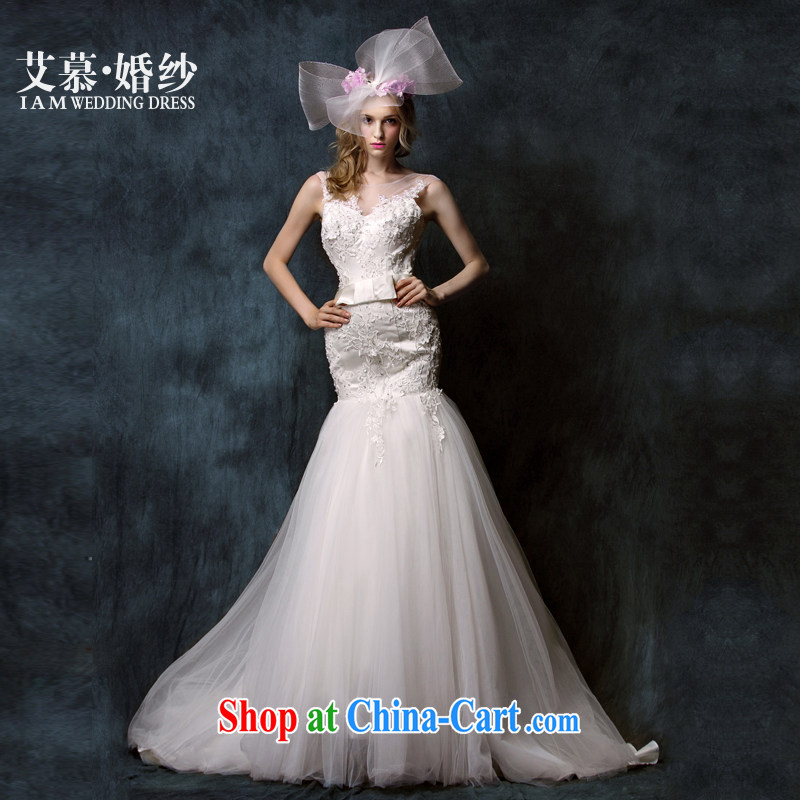 With the 2015 spring new cycle terminates and half lace Deep V erase chest lace crowsfoot bridal wedding dresses ivory L