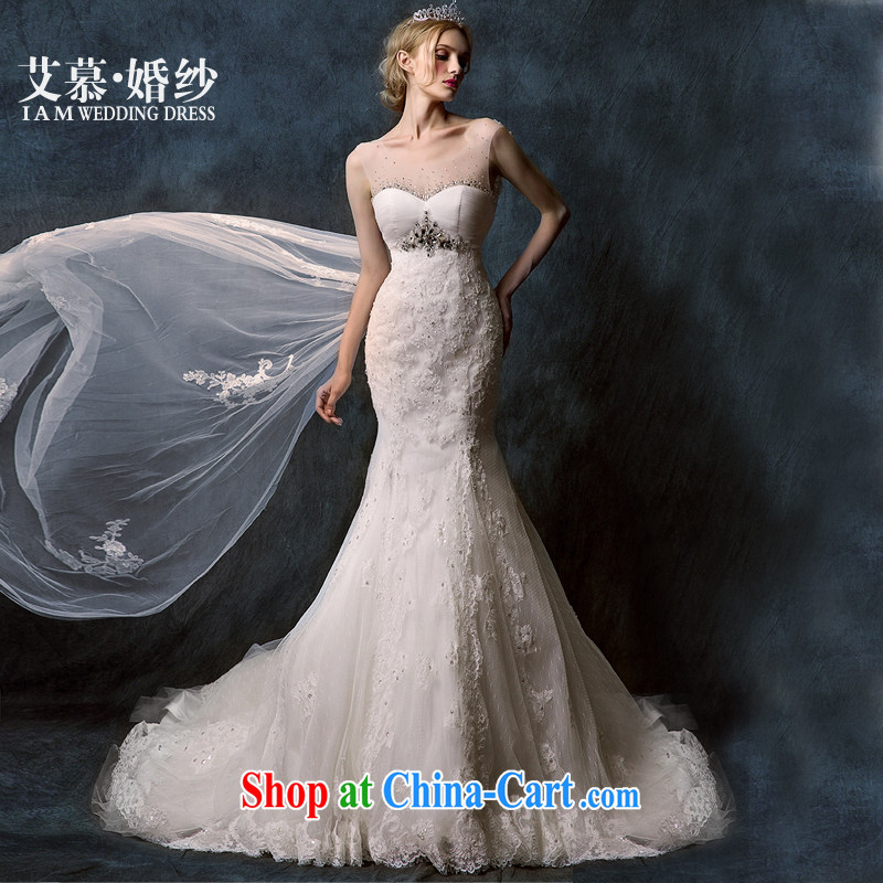 With the 2015 spring new Chui Xuan half and wiped his chest lace crowsfoot long-tail bridal wedding dresses white tailored