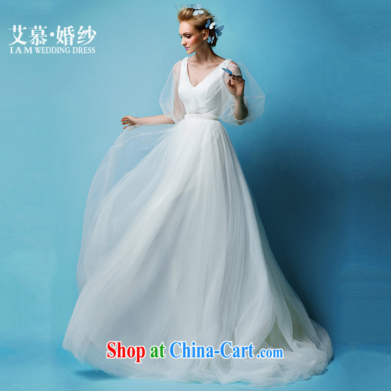 On the wedding 2015 new buds covered by deep V half and long-sleeved Princess shaggy dress bridal wedding dresses white XL