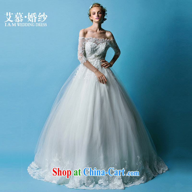 On the wedding 2015 new Ting, a field shoulder lace bare chest long-sleeved bridal wedding dresses white XL