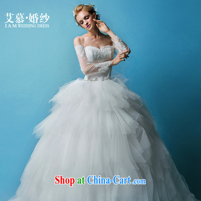 On the wedding 2015 new Ling Yao wiped his chest long-sleeved lace shaggy dress bridal wedding dresses white XL
