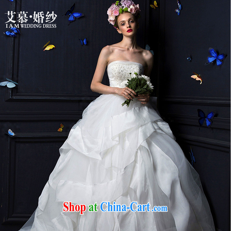 On the wedding 2015 new Lithuania fuser cleaning chest lace shaggy dress long-tail bridal wedding dresses ivory XL