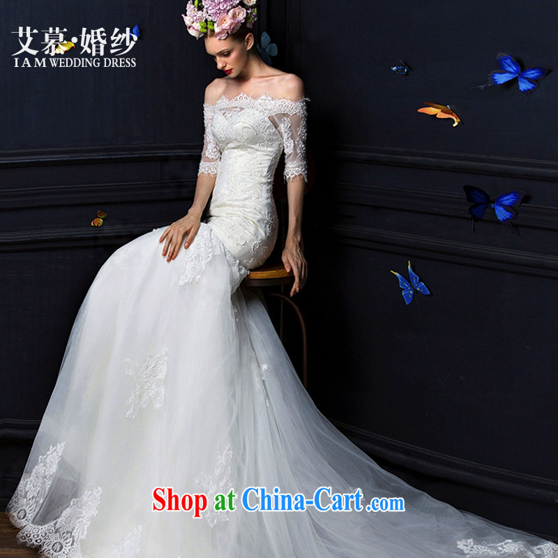 The AIDS 2015 new Mya covers the field shoulder bare chest lace crowsfoot tail long-sleeved bridal wedding dresses white L