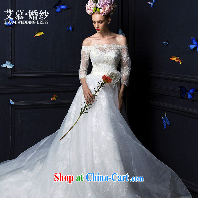 The AIDS 2015 new Ling Xuan bare chest lace a Field shoulder long-sleeved tail bridal wedding dresses white XL