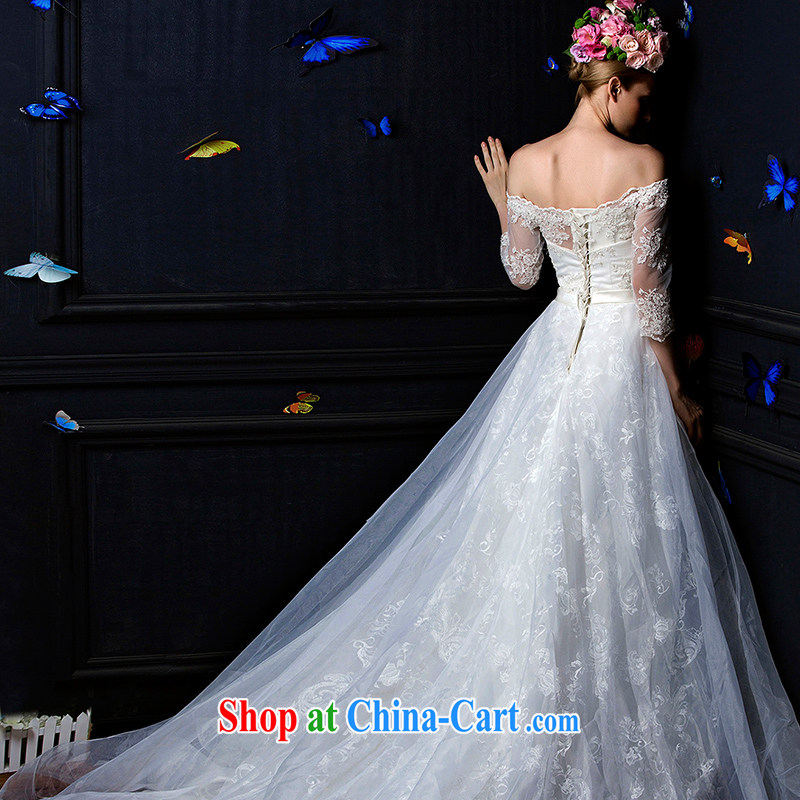 With the 2015 new Ling Xuan wiped his chest lace the Field shoulder long-sleeved tail bridal wedding dresses white XL, AIDS, and, shopping on the Internet