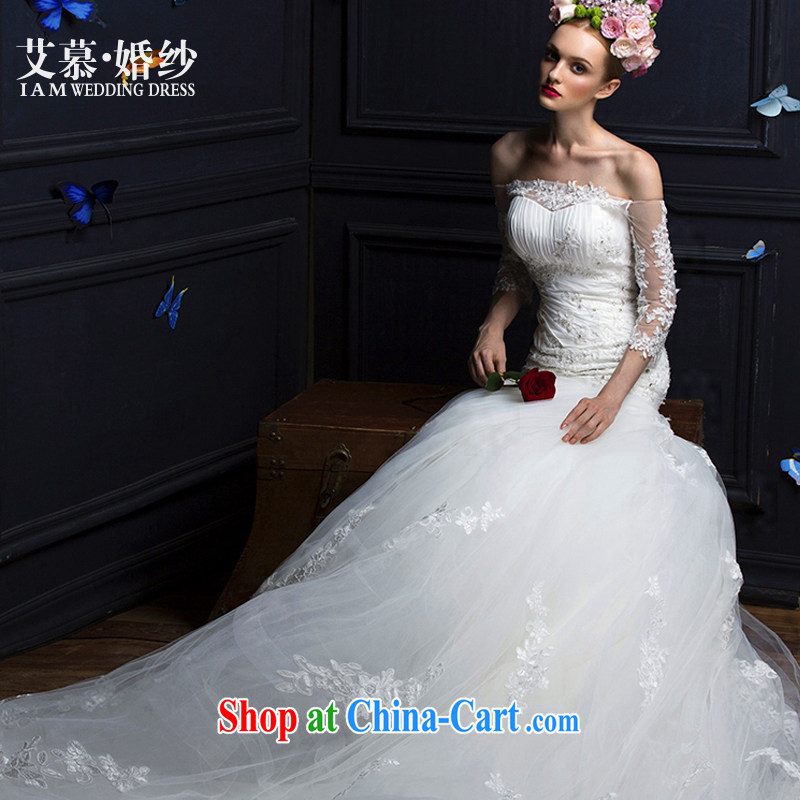 The AIDS 2015 New Concept Mary Magdalene Mei Chest lace a Field shoulder long-sleeved crowsfoot tail wedding dresses white L