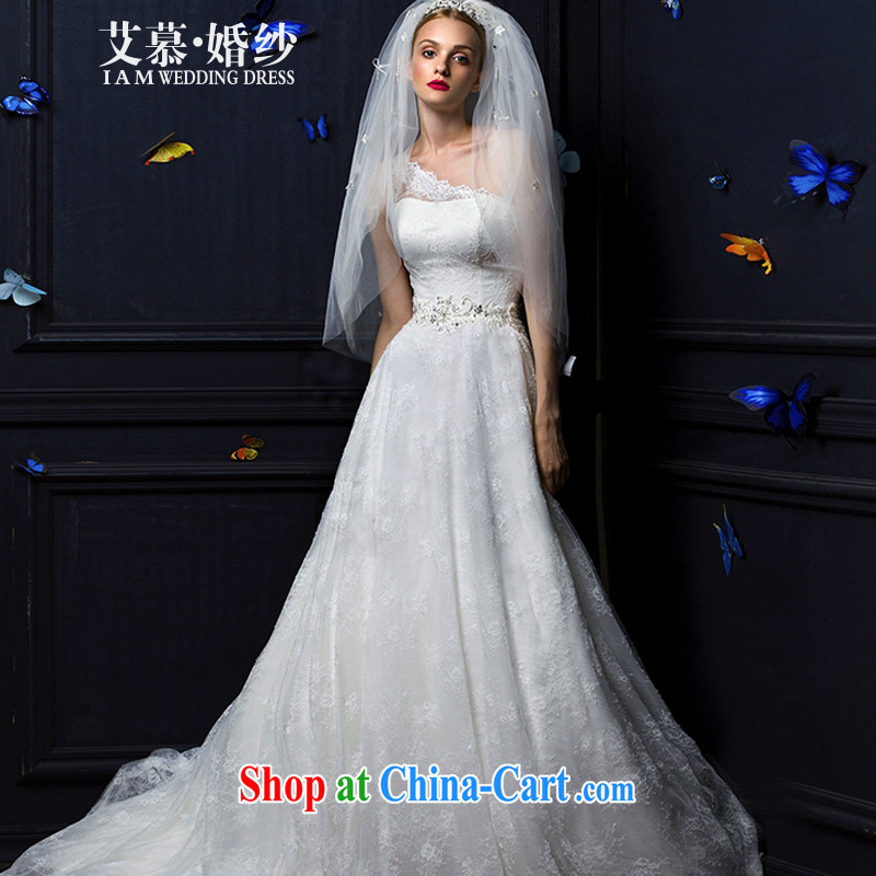 On the wedding 2015 new semi-dream the shoulder full lace long-tail bridal wedding dresses ivory XL