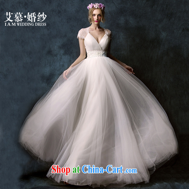 On the wedding dress spring 2015 new, based on deep V lace shaggy dress long-tail bridal wedding dresses with XL paragraph