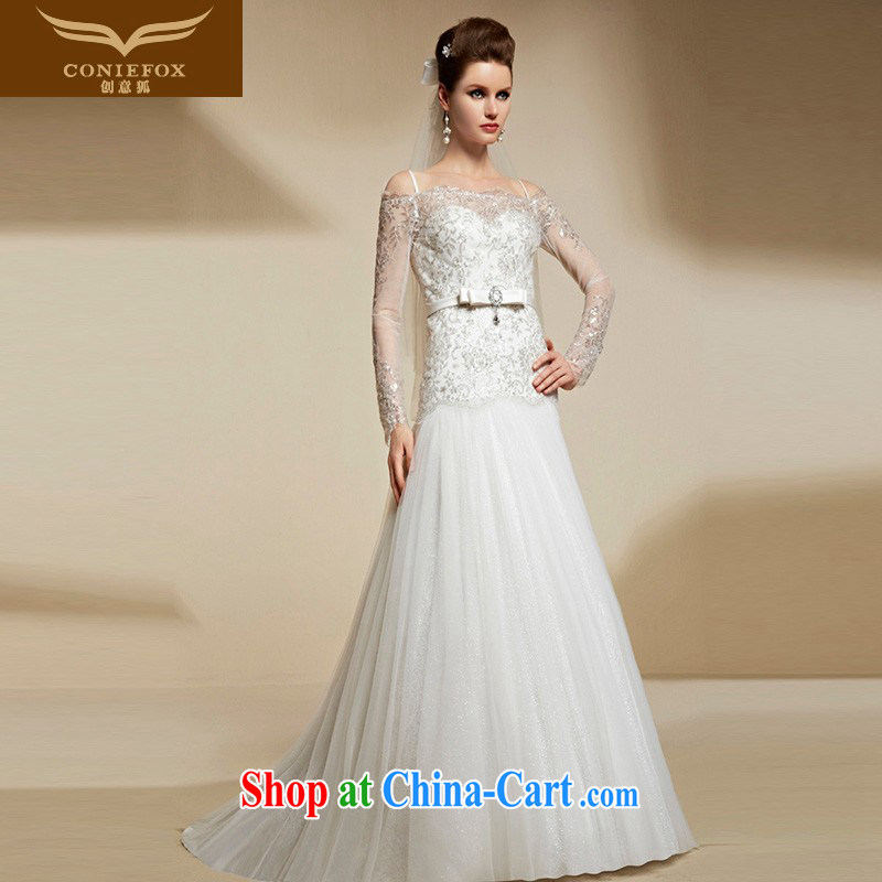Creative Fox high-end custom wedding dresses 2015 New Beauty video thin white bridal dress high waist long erase chest wedding 90,201 picture color tailored